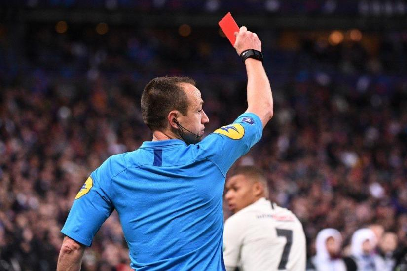 Mbappe Red Carded